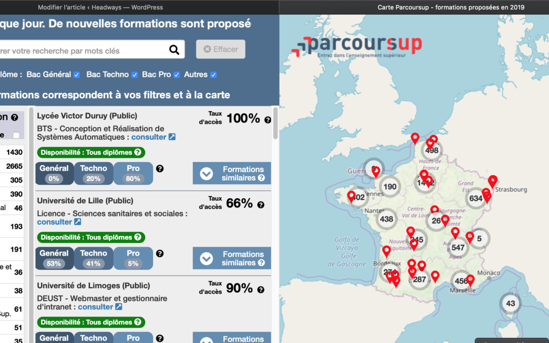 parcoursup carte interactive formations