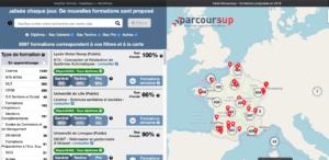 parcoursup carte interactive formations
