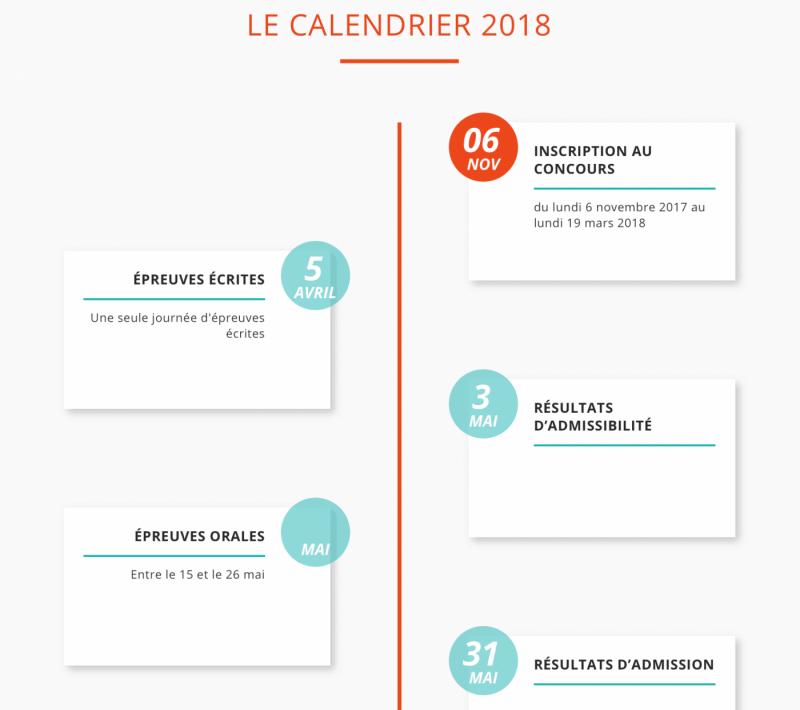 CALENDRIER CONCOURS ACCES 2018