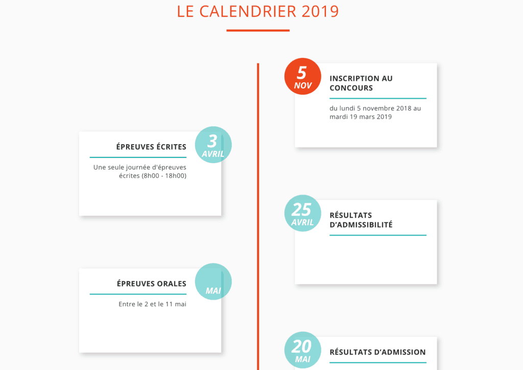 calendrier 2019 concours acces sesame